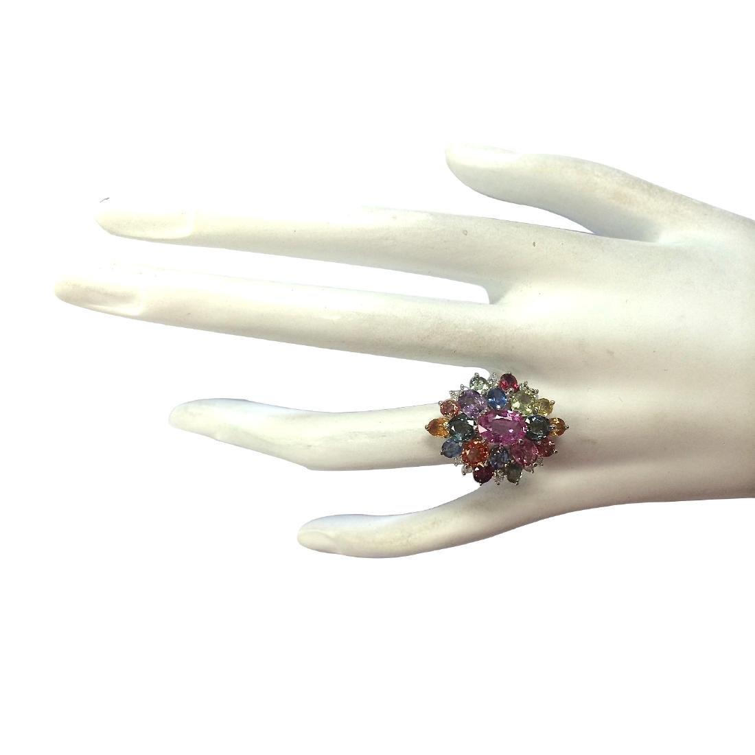 7.63Ct Natural Ceylon Sapphire And Diamond Ring In18K - 4