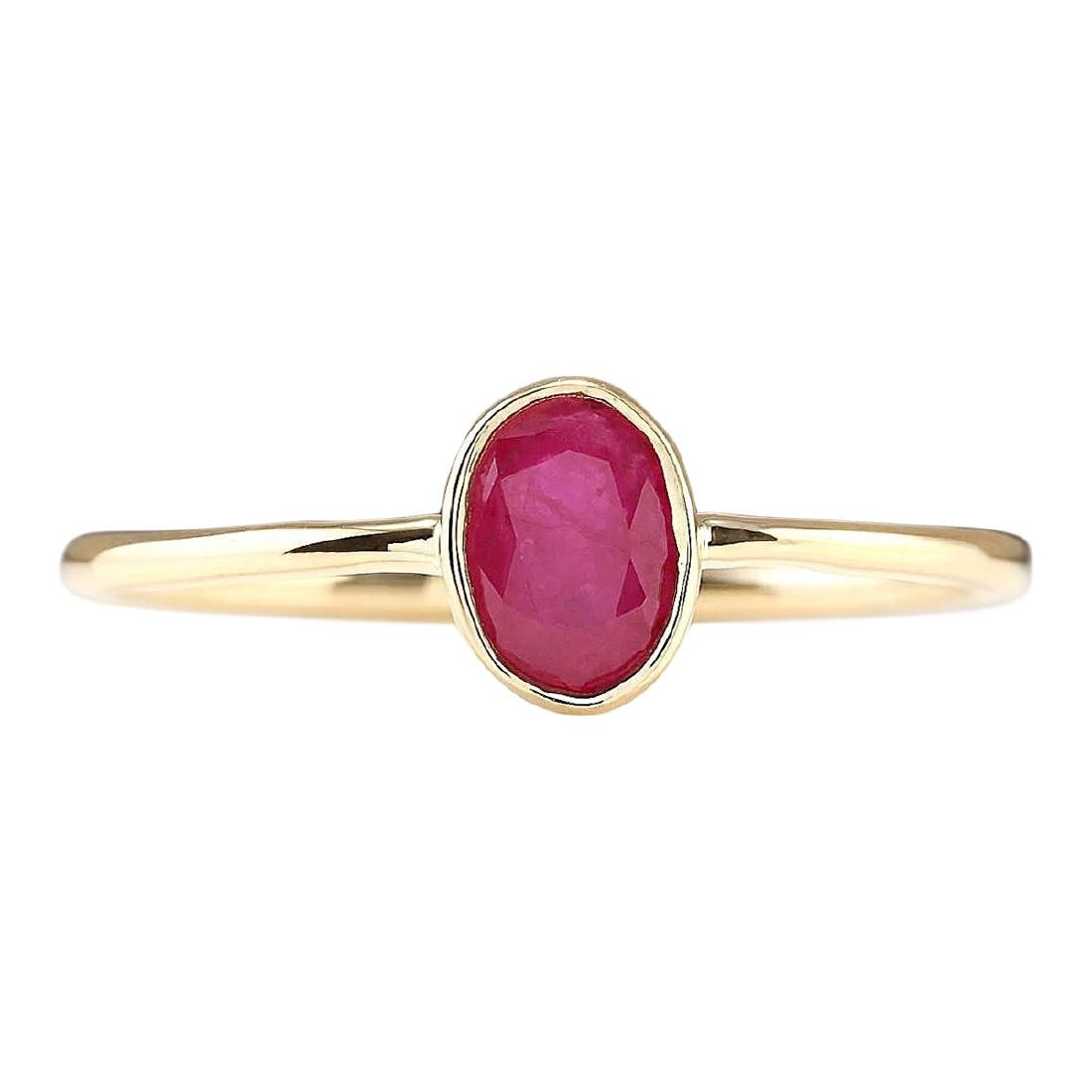 0.60 CTW Natural Ruby And Diamond Ring In 18K Yellow