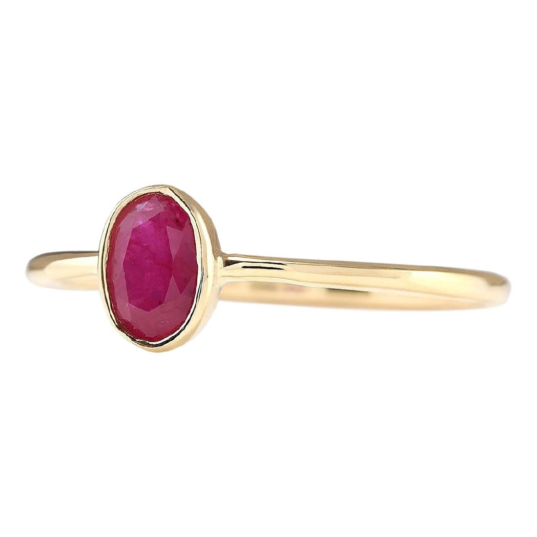 0.60 CTW Natural Ruby And Diamond Ring In 18K Yellow - 2