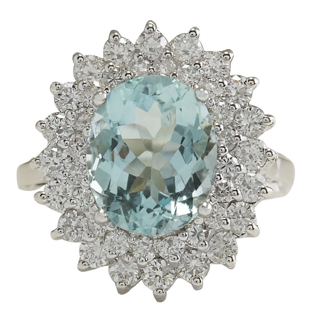 7.03CTW Natural Aquamarine And Diamond Ring In 18K