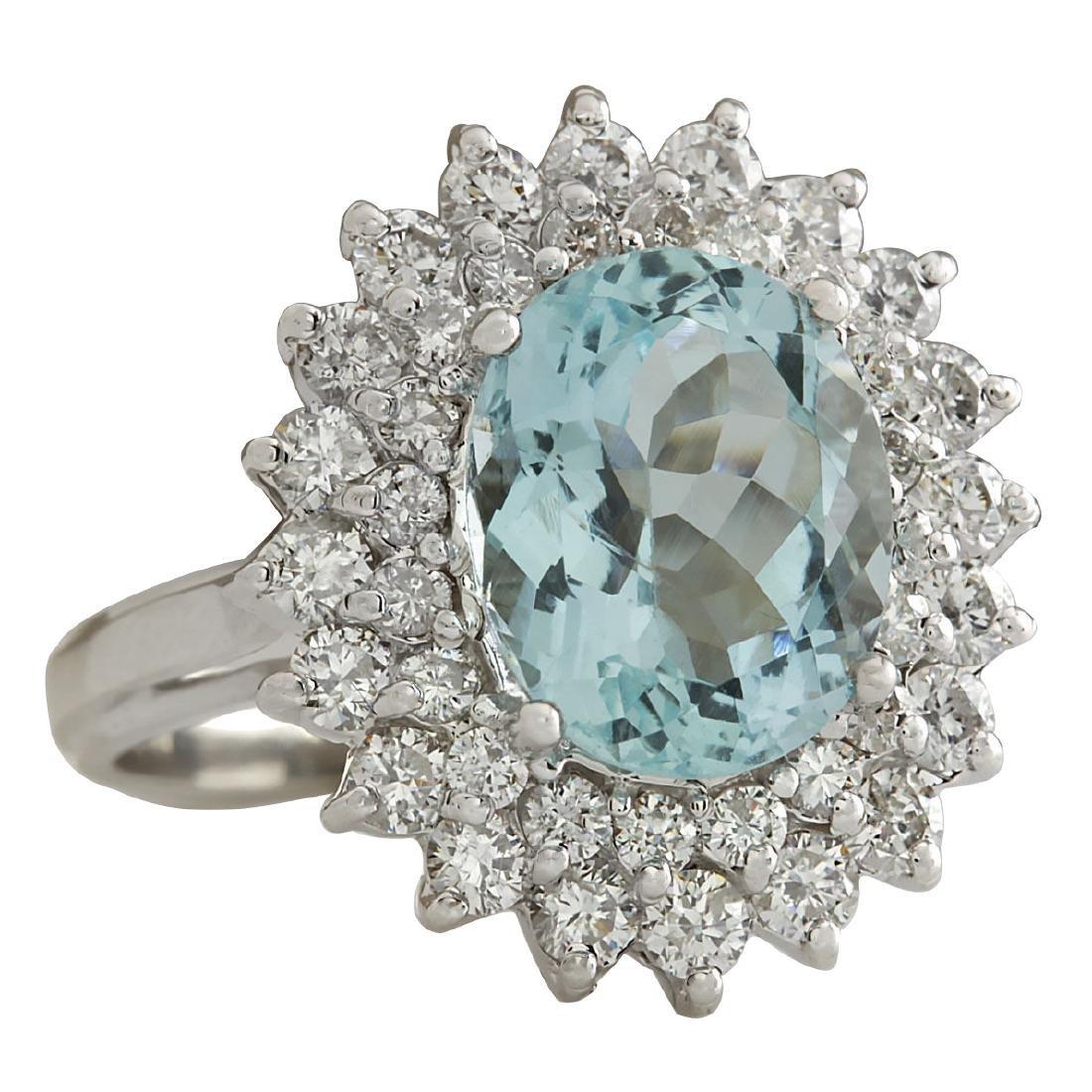 7.03CTW Natural Aquamarine And Diamond Ring In 18K - 2