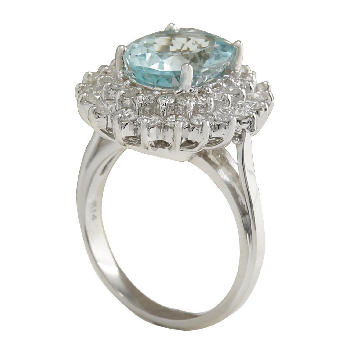 7.03CTW Natural Aquamarine And Diamond Ring In 18K - 3