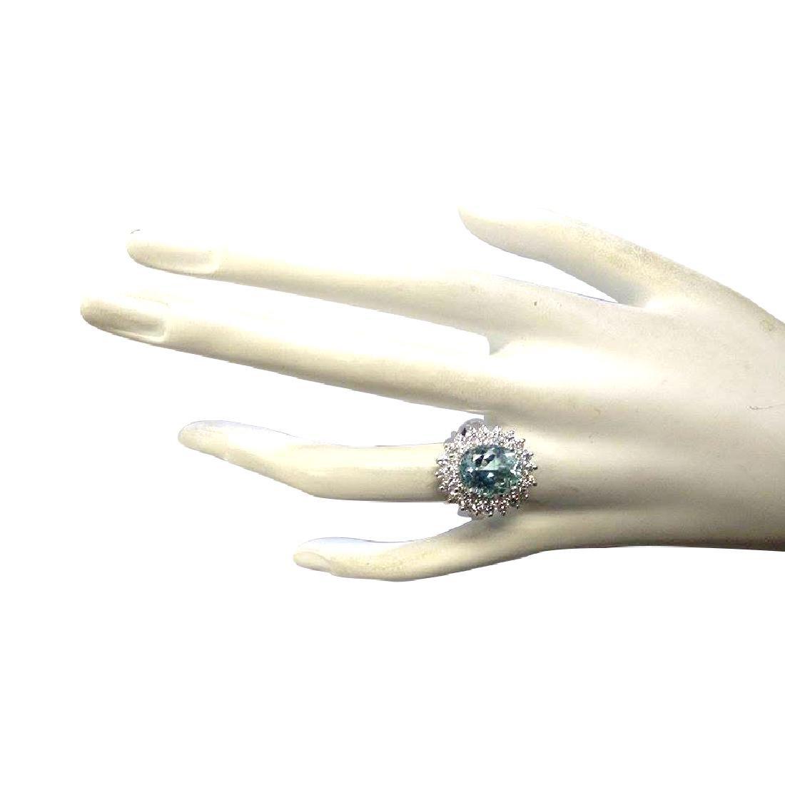 7.03CTW Natural Aquamarine And Diamond Ring In 18K - 4