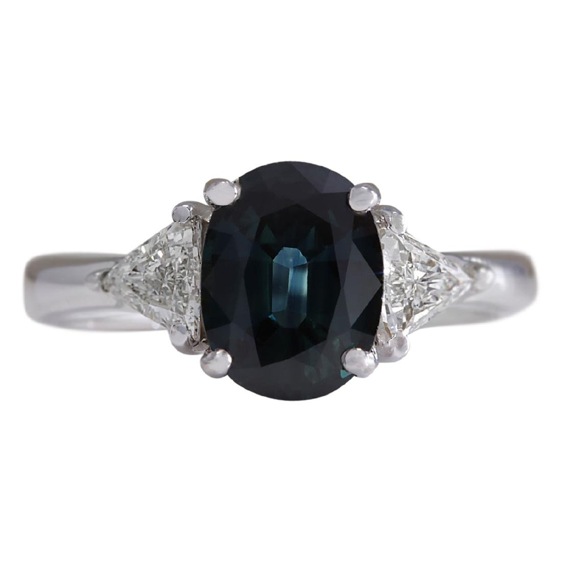2.95 CTW Natural Blue Sapphire Diamond Ring 18K Solid