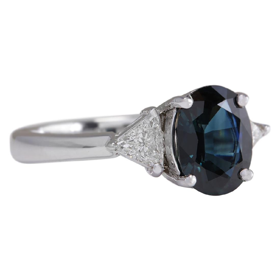 2.95 CTW Natural Blue Sapphire Diamond Ring 18K Solid - 2