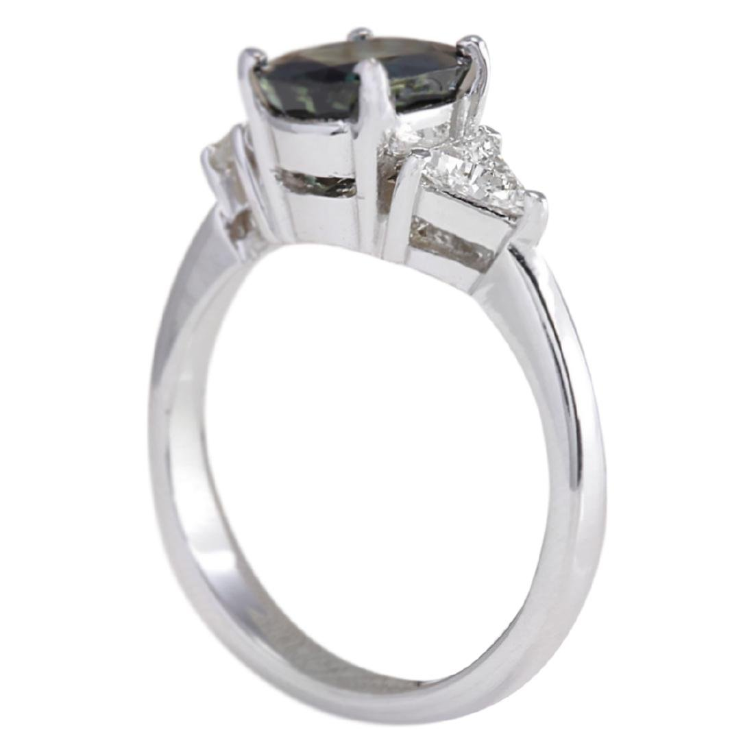 2.95 CTW Natural Blue Sapphire Diamond Ring 18K Solid - 3