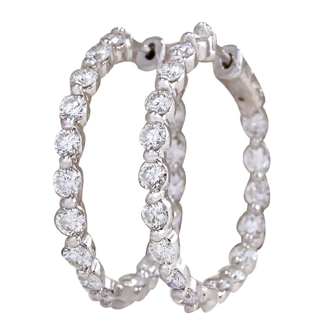 4.28CTW Natural Diamond Hoop Earrings 18K Solid White