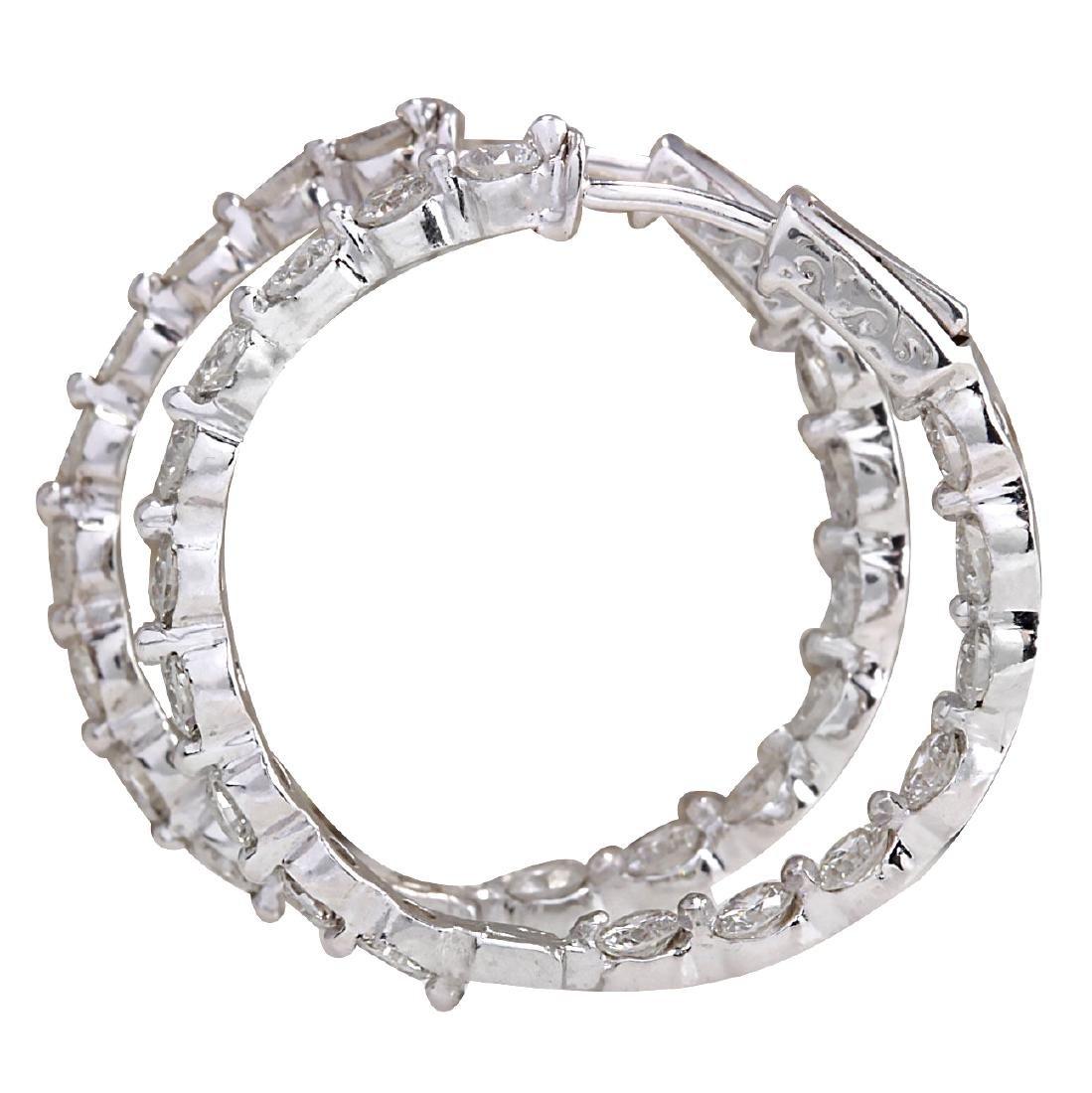 4.28CTW Natural Diamond Hoop Earrings 18K Solid White - 2