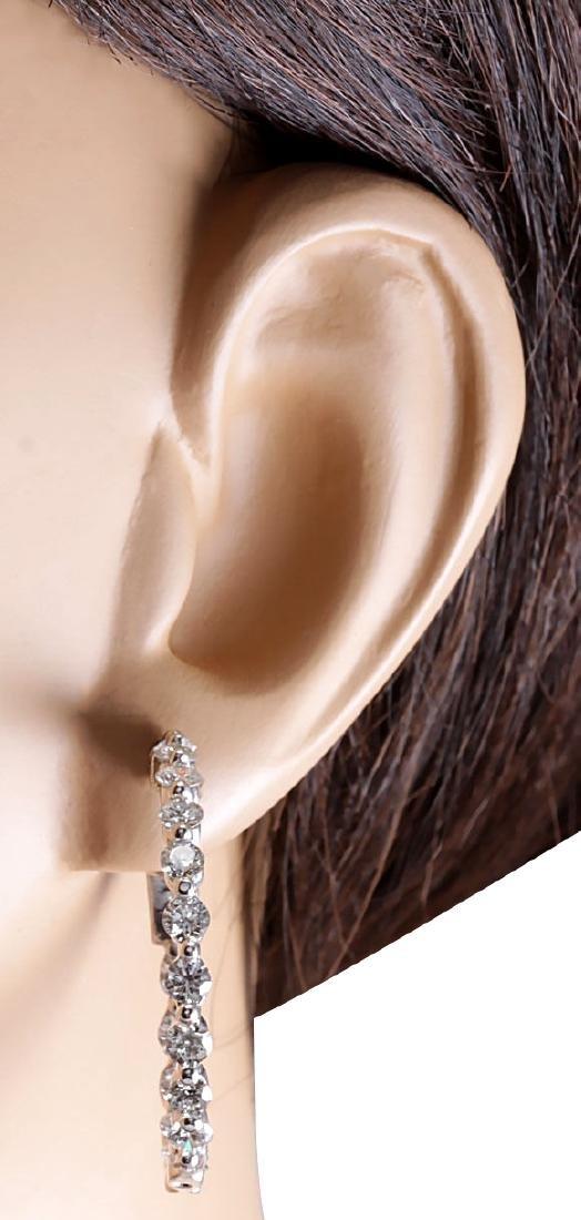 4.28CTW Natural Diamond Hoop Earrings 18K Solid White - 3