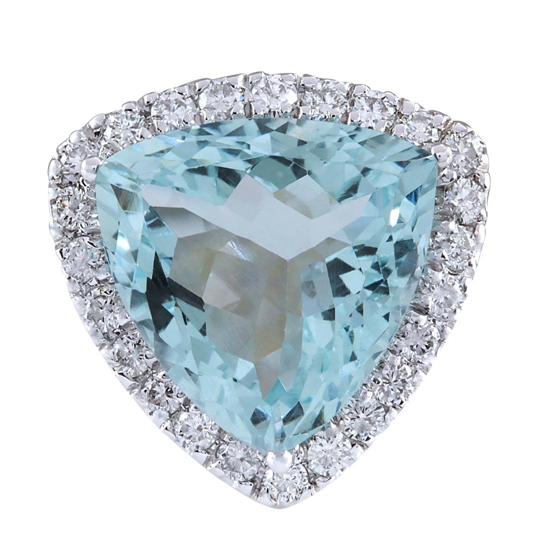 10.26CTW Natural Aquamarine And Diamond Ring In 18K