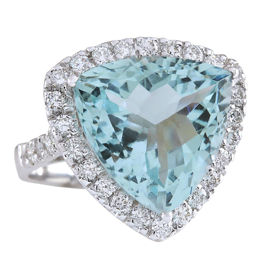 10.26CTW Natural Aquamarine And Diamond Ring In 18K - 2