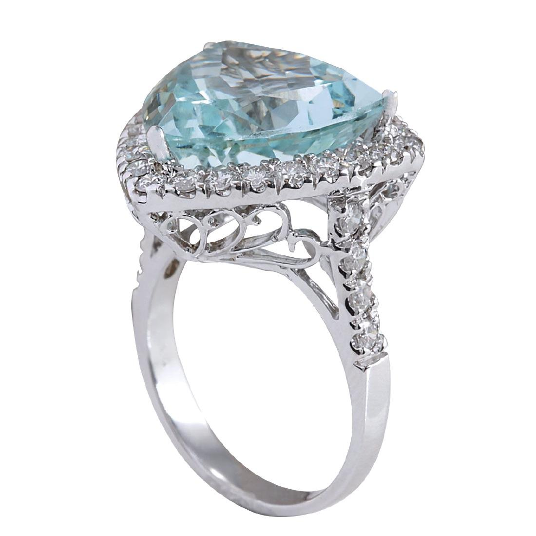 10.26CTW Natural Aquamarine And Diamond Ring In 18K - 3