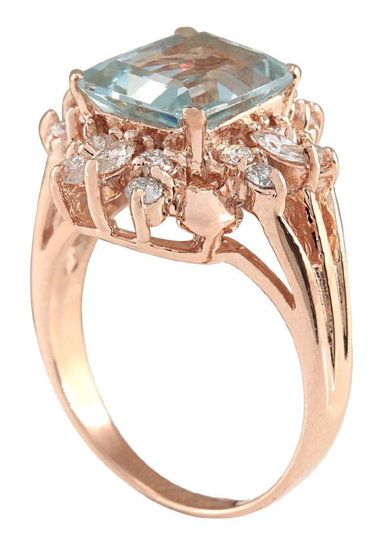 2.83CTW Natural Blue Aquamarine Diamond Ring 18K Solid - 3