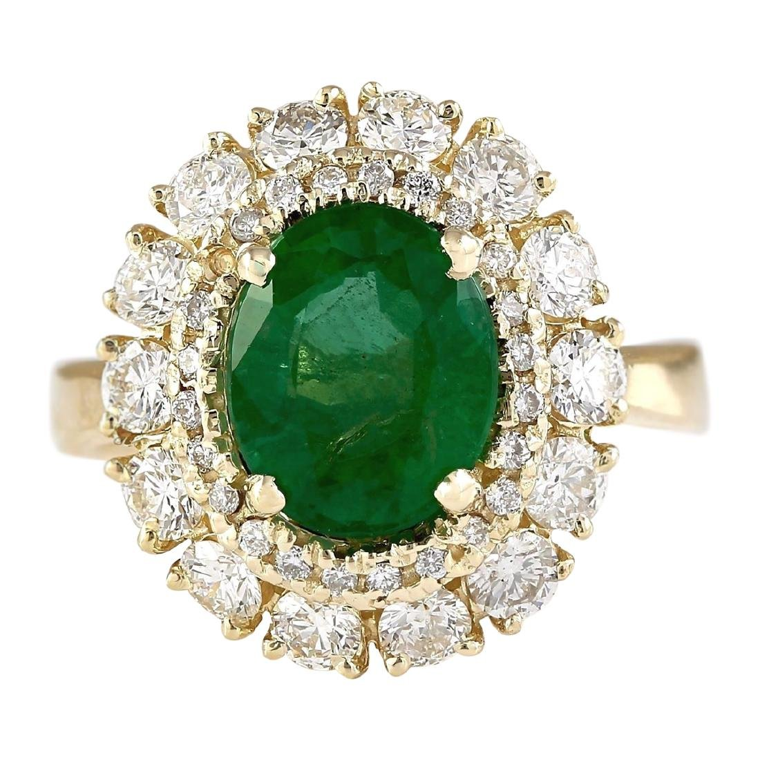 3.60 CTW Natural Emerald And Diamond Ring In 18K Yellow