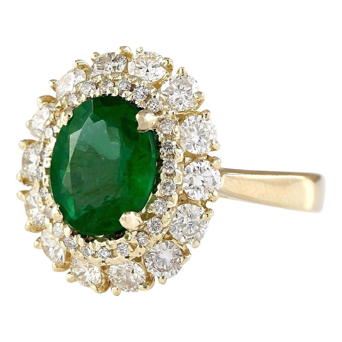 3.60 CTW Natural Emerald And Diamond Ring In 18K Yellow - 2
