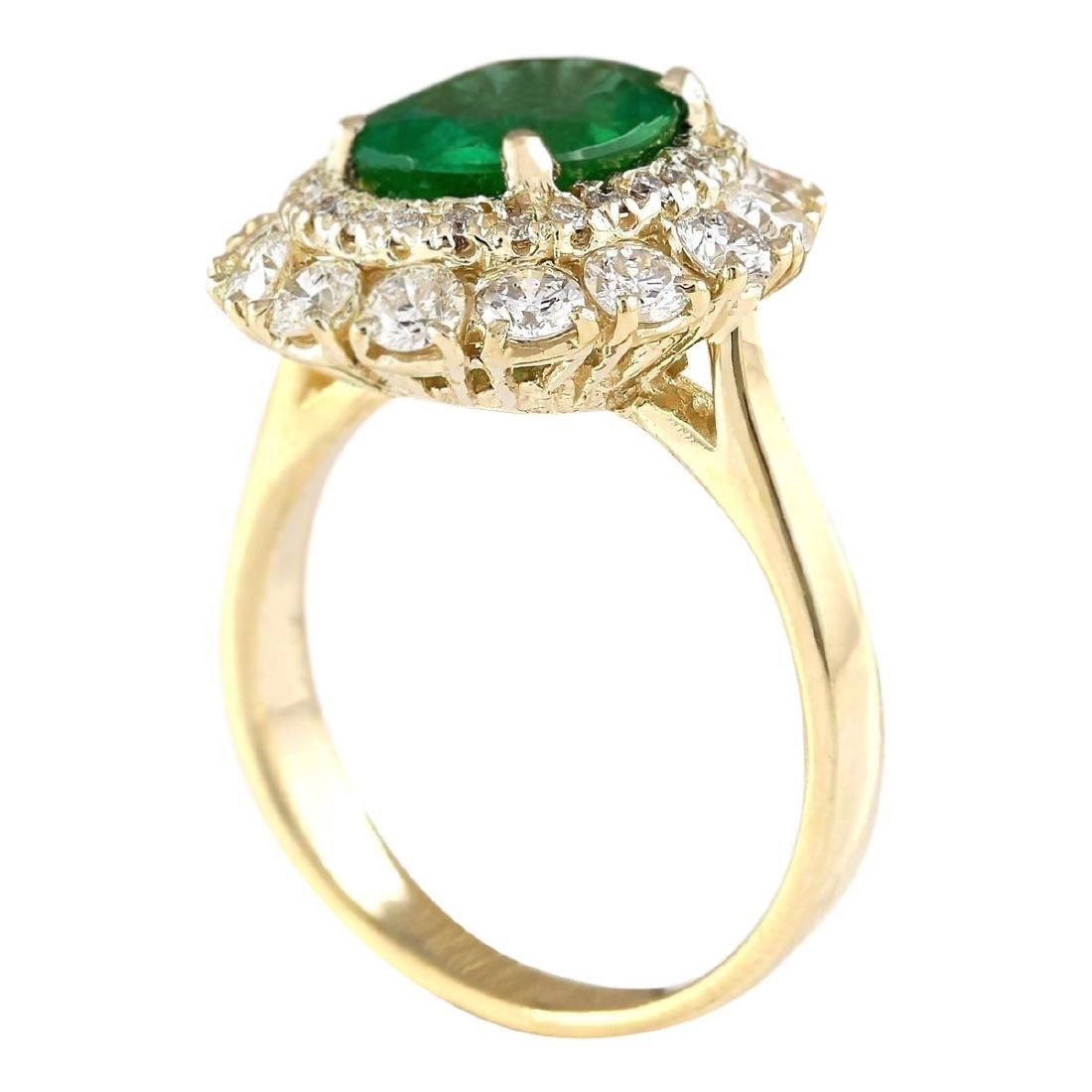 3.60 CTW Natural Emerald And Diamond Ring In 18K Yellow - 3
