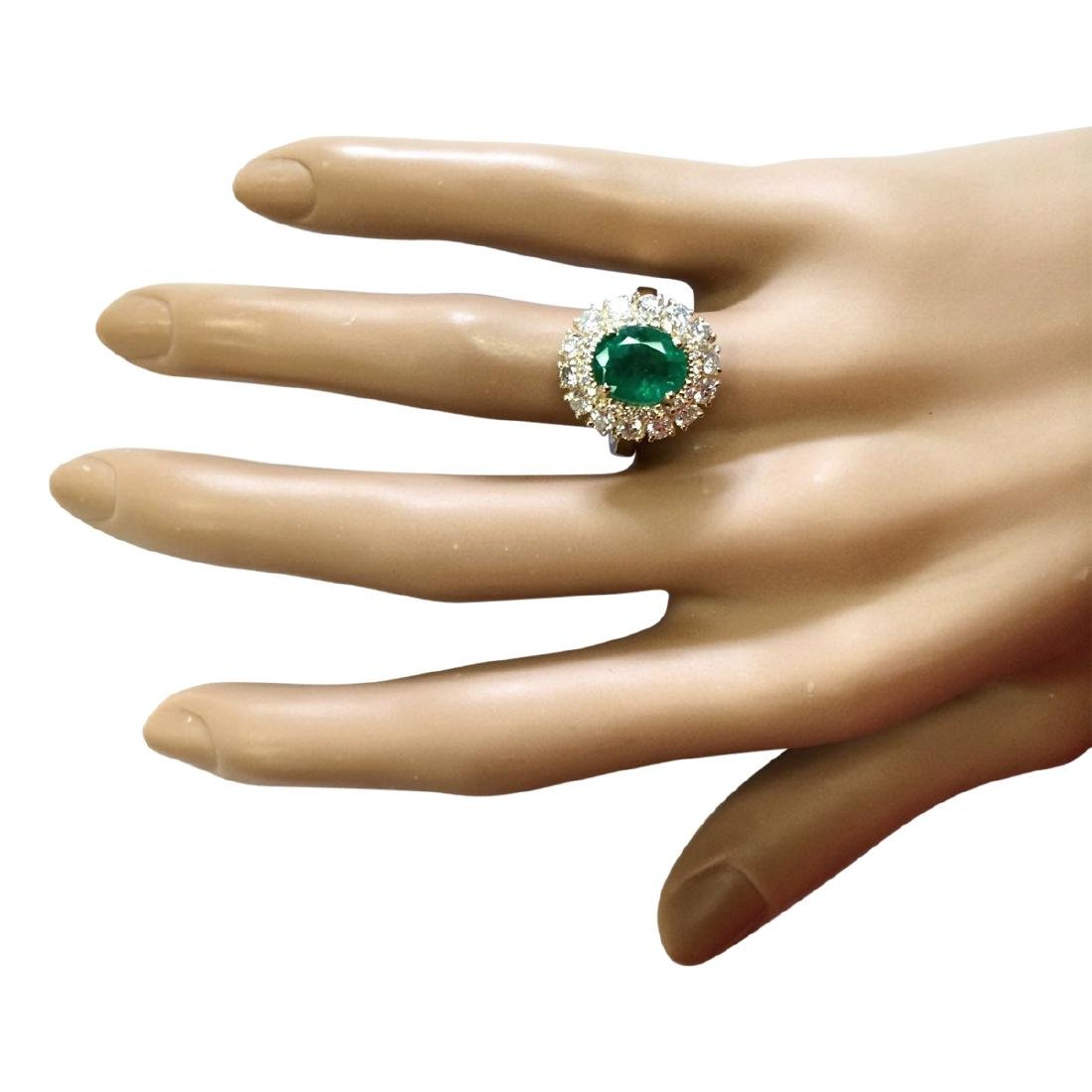3.60 CTW Natural Emerald And Diamond Ring In 18K Yellow - 4