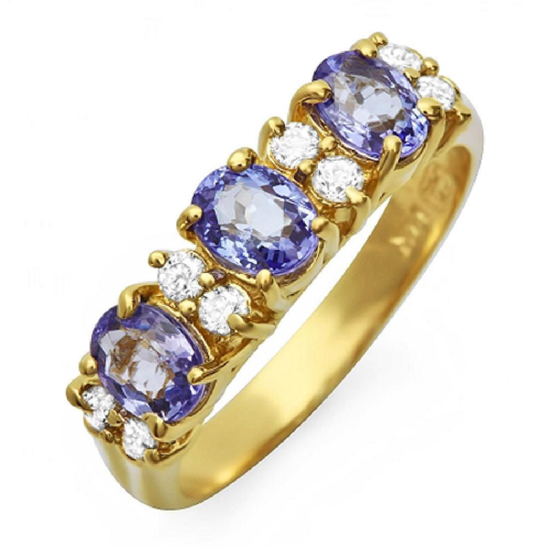 1.36 Carat Natural Tanzanite 18K Solid Yellow Gold