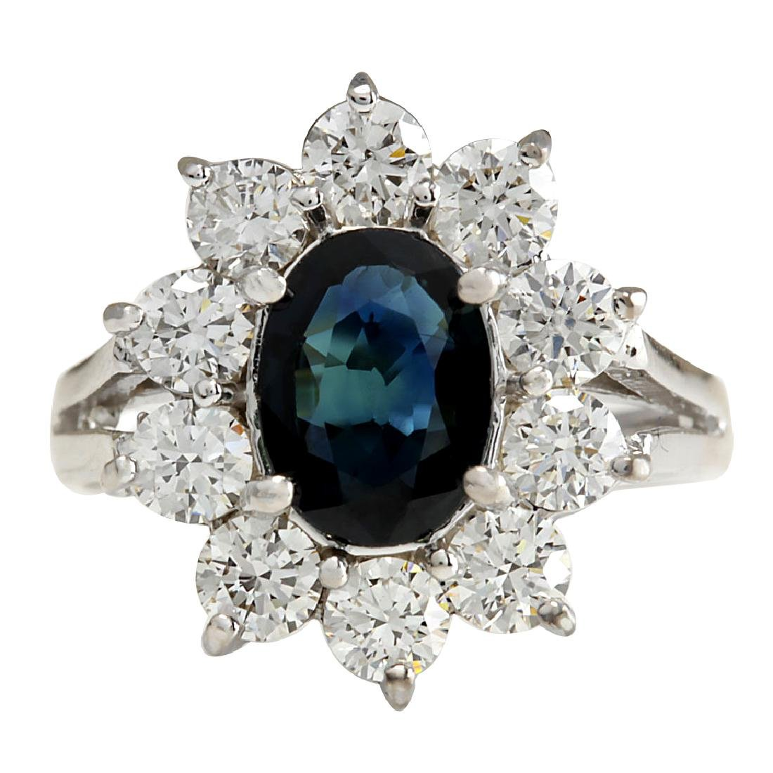 2.83CTW Natural Blue Sapphire Diamond Ring 18K Solid
