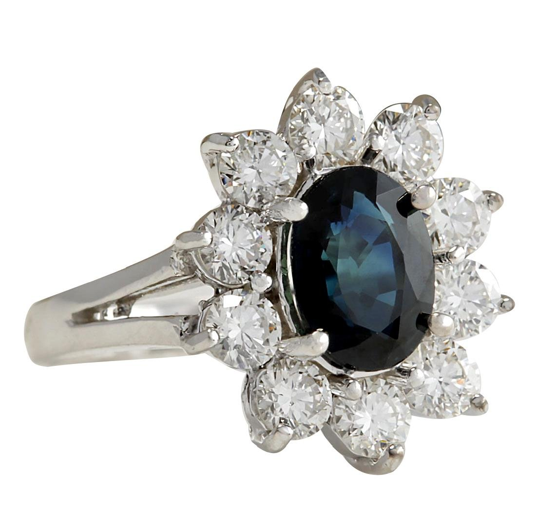 2.83CTW Natural Blue Sapphire Diamond Ring 18K Solid - 2
