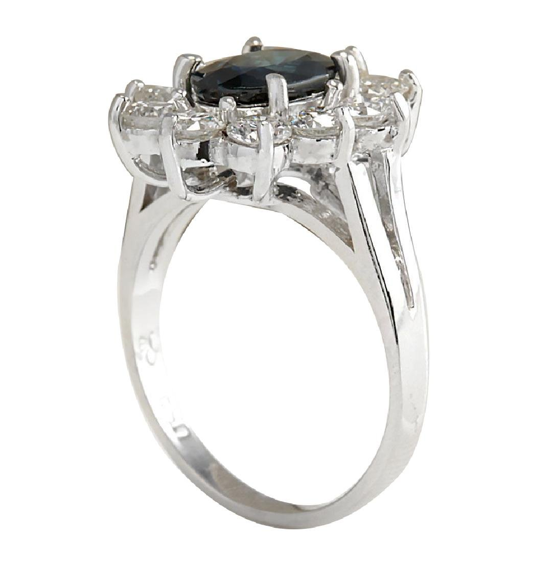 2.83CTW Natural Blue Sapphire Diamond Ring 18K Solid - 3