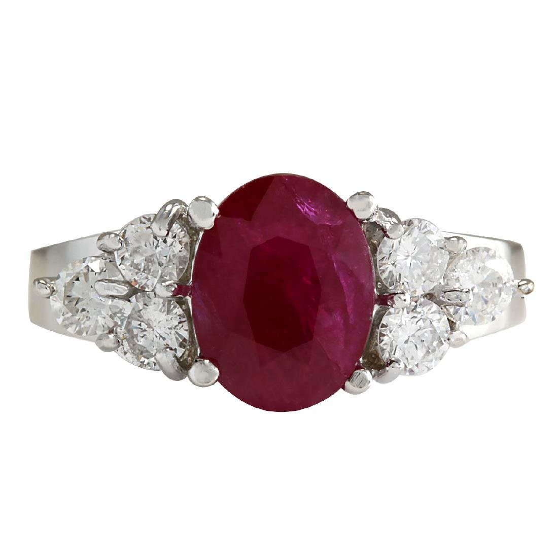 2.90CTW Natural Red Ruby And Diamond Ring 18K Solid