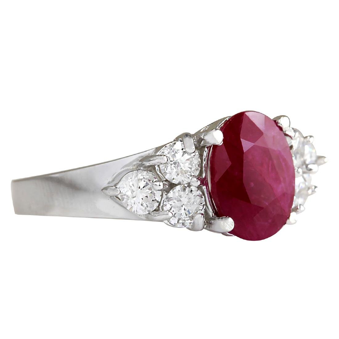 2.90CTW Natural Red Ruby And Diamond Ring 18K Solid - 2