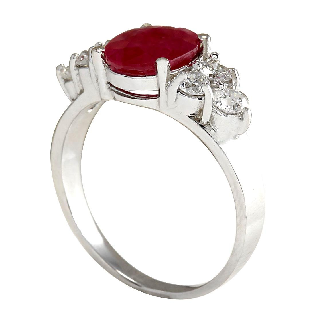 2.90CTW Natural Red Ruby And Diamond Ring 18K Solid - 3