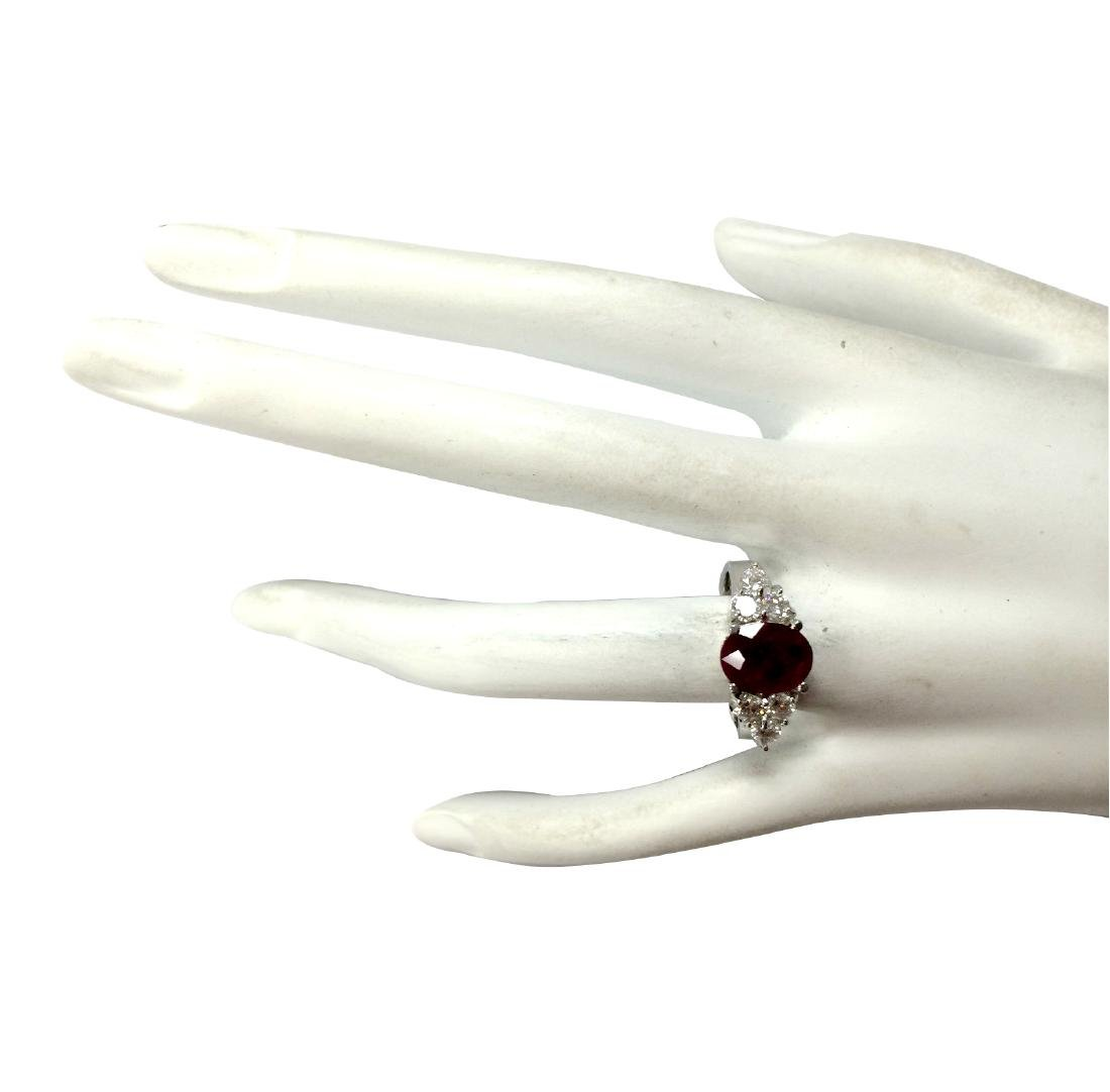 2.90CTW Natural Red Ruby And Diamond Ring 18K Solid - 4