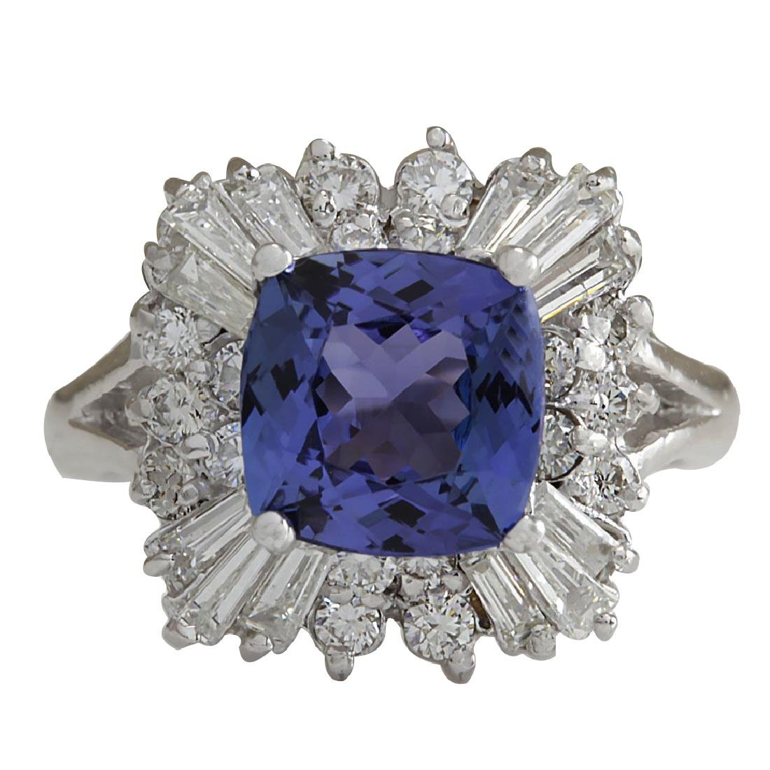 3.74CTW Natural Blue Tanzanite And Diamond Ring In 18K