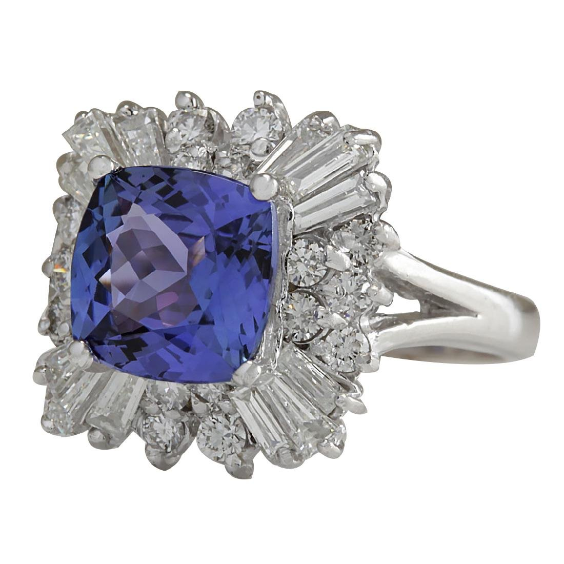 3.74CTW Natural Blue Tanzanite And Diamond Ring In 18K - 2