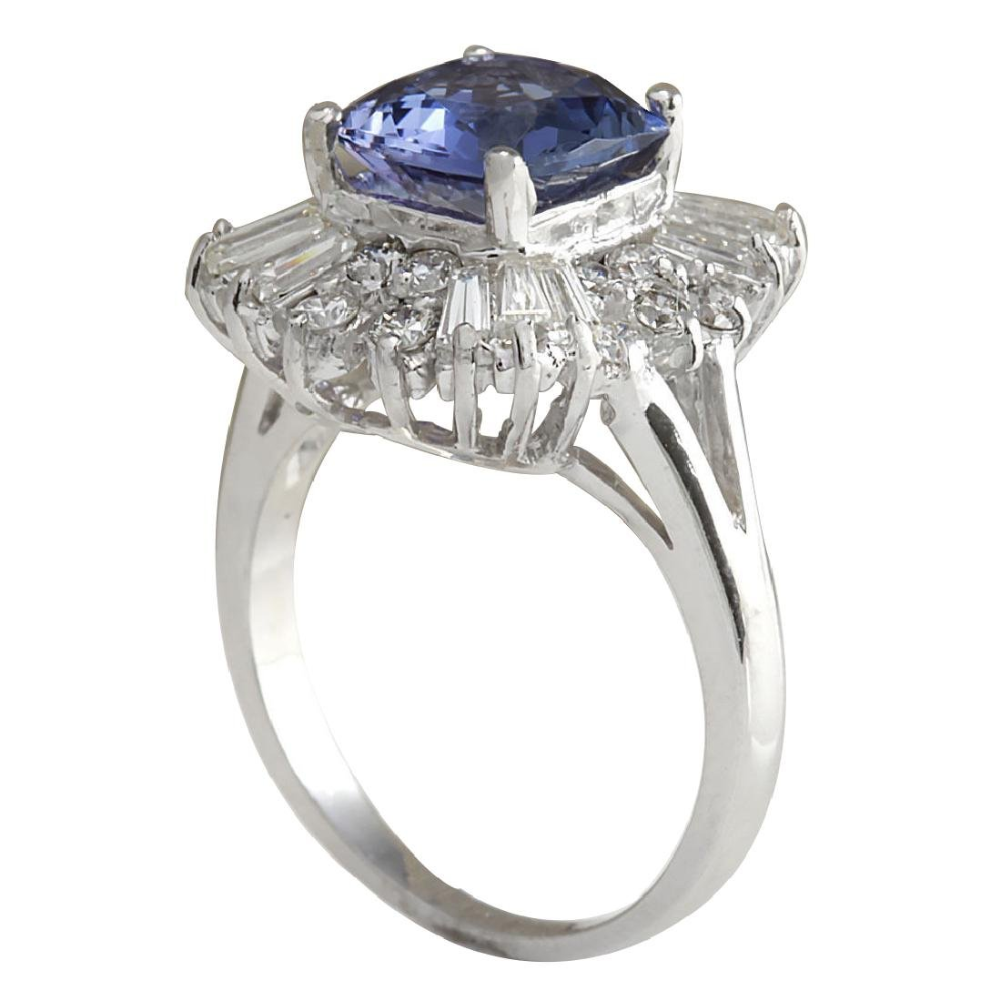 3.74CTW Natural Blue Tanzanite And Diamond Ring In 18K - 3