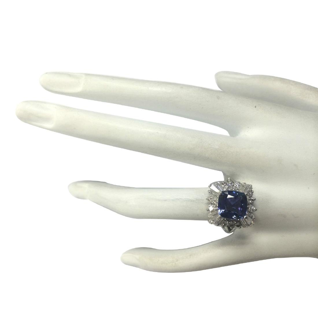 3.74CTW Natural Blue Tanzanite And Diamond Ring In 18K - 4