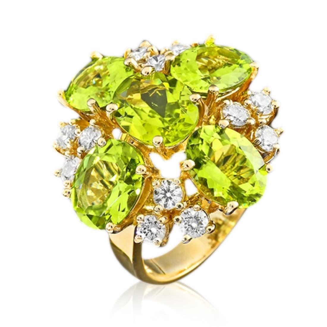 9.80 Carat Natural Peridot 18K Solid Yellow Gold
