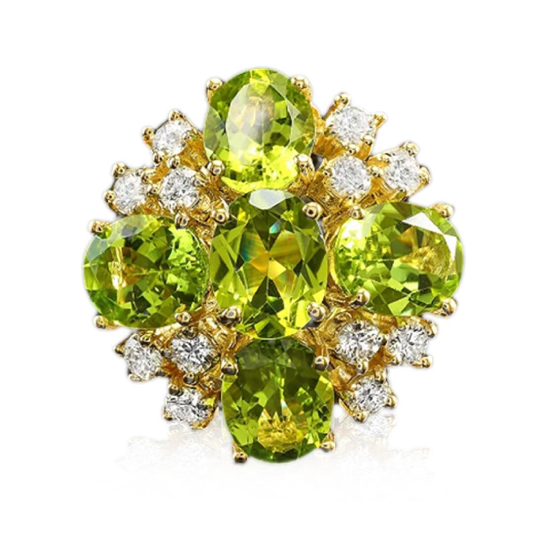 9.80 Carat Natural Peridot 18K Solid Yellow Gold - 2