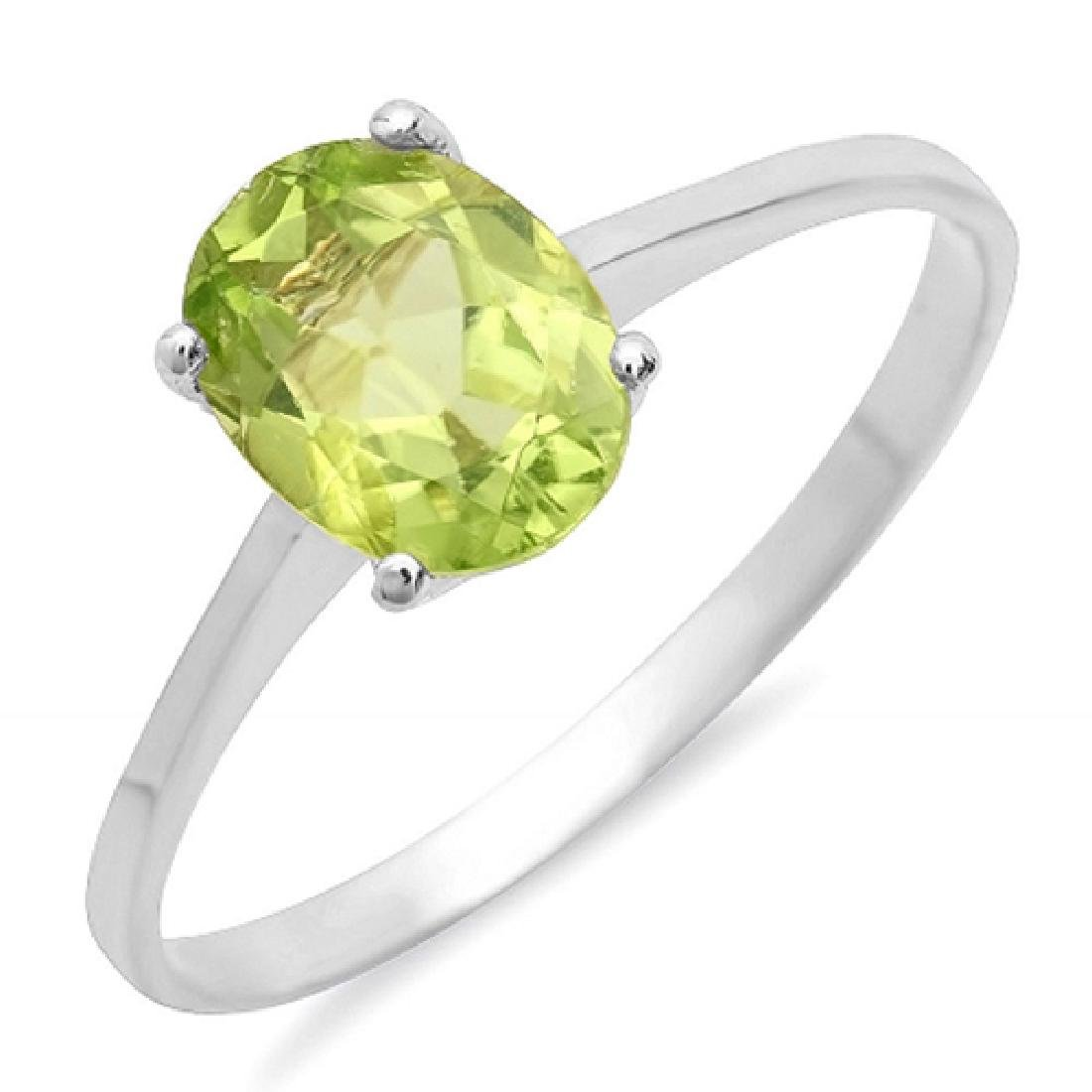 1.00 Carat Natural Peridot 18K Solid White Gold Ring