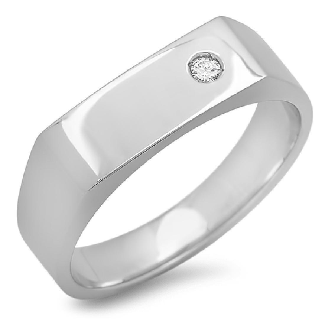 Mens 0.03 Carat Natural Diamond 18K Solid White Gold - 2