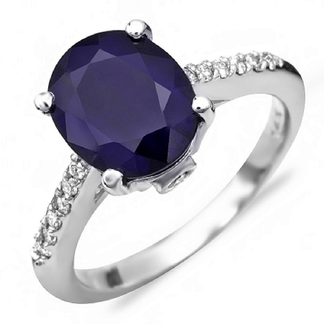 3.70 Carat Natural Sapphire 18K Solid White Gold