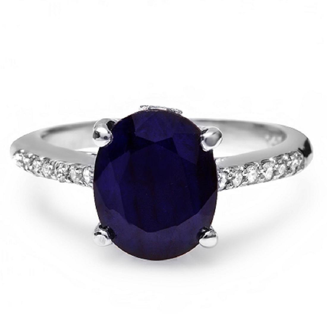 3.70 Carat Natural Sapphire 18K Solid White Gold - 2