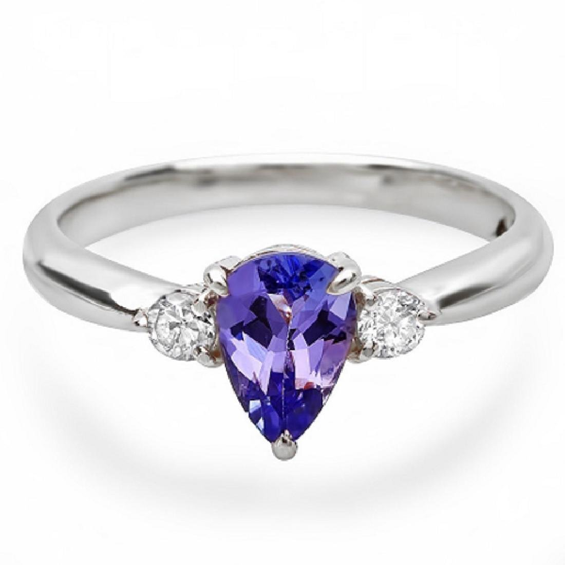 0.70 Carat Natural Tanzanite 18K Solid White Gold