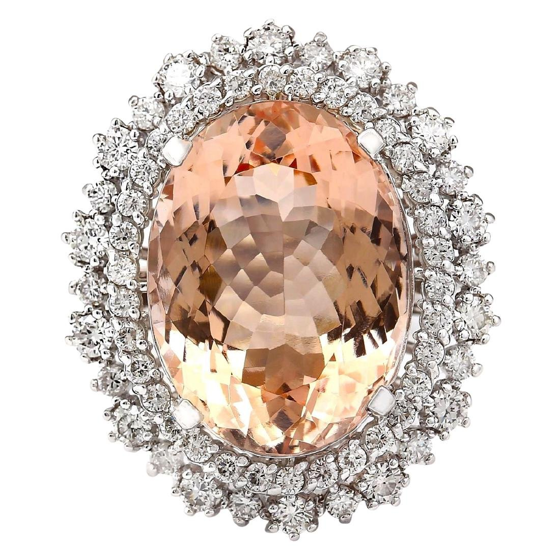 16.60 CTW Natural Morganite And Diamond Ring In 18K