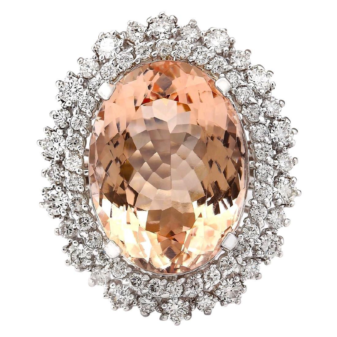 16.60 CTW Natural Morganite And Diamond Ring In 18K