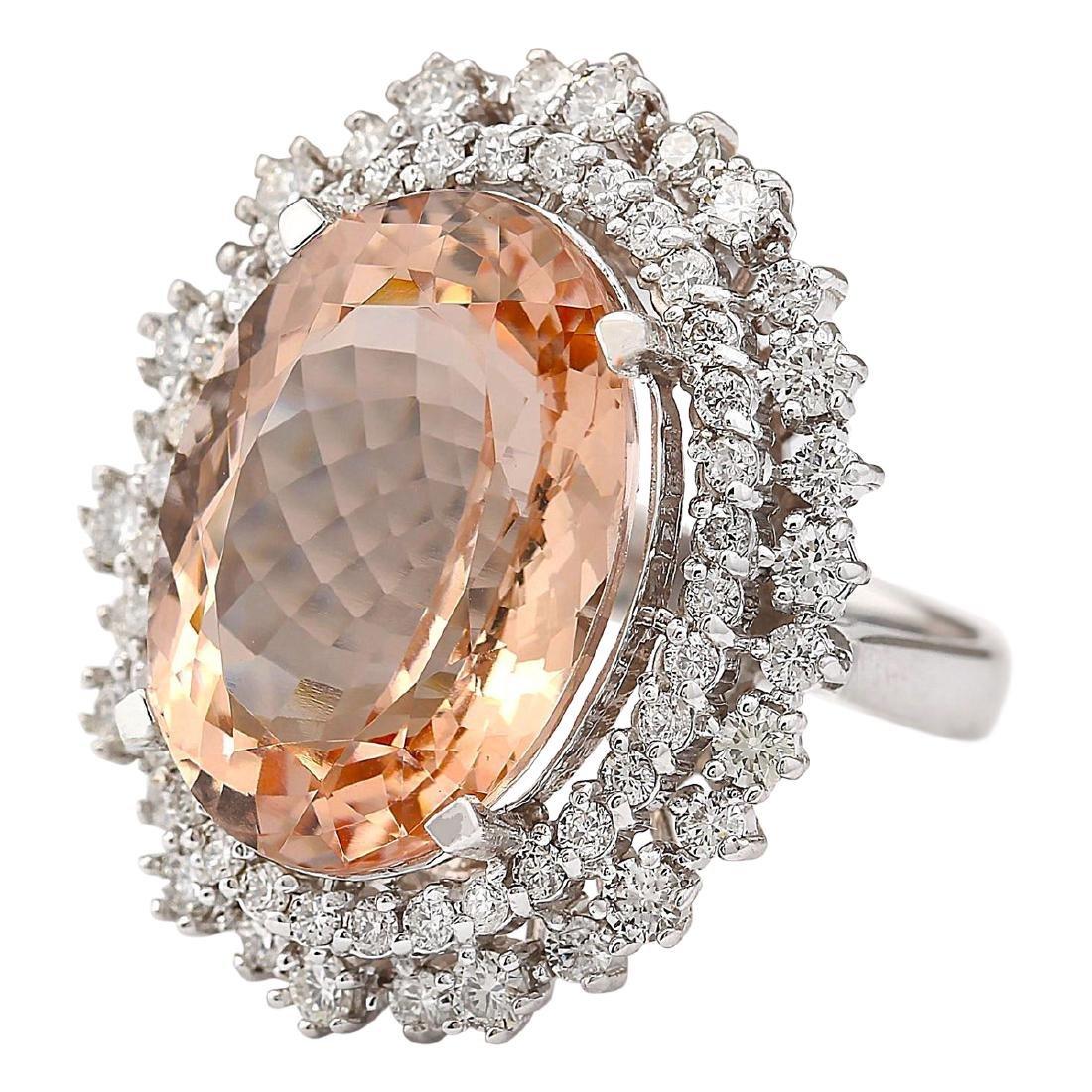 16.60 CTW Natural Morganite And Diamond Ring In 18K - 2