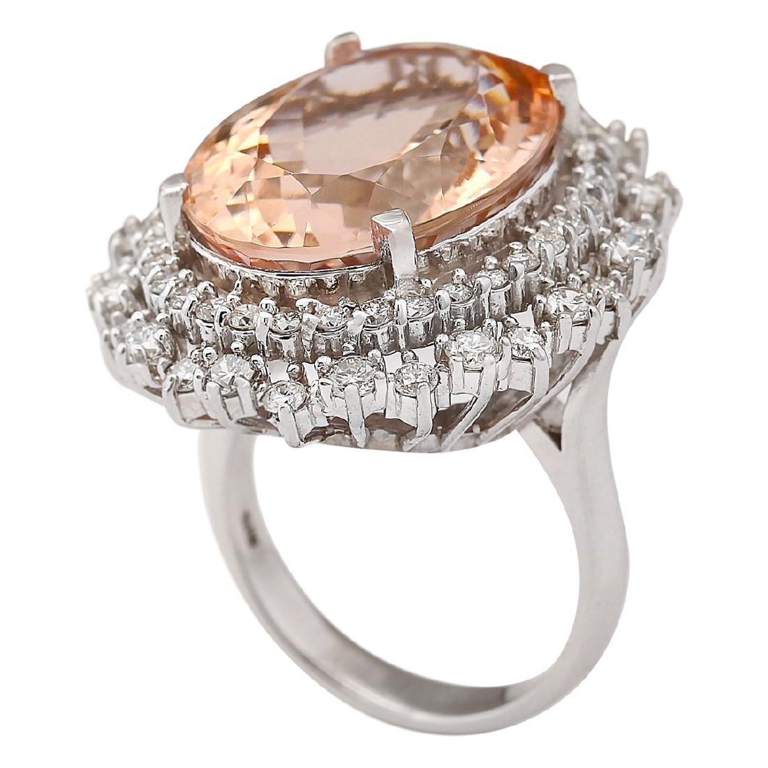 16.60 CTW Natural Morganite And Diamond Ring In 18K - 3