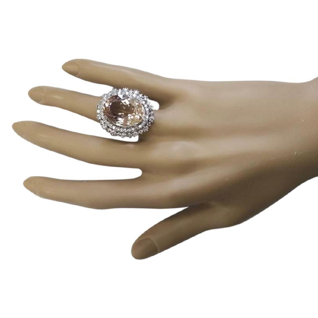 16.60 CTW Natural Morganite And Diamond Ring In 18K - 4
