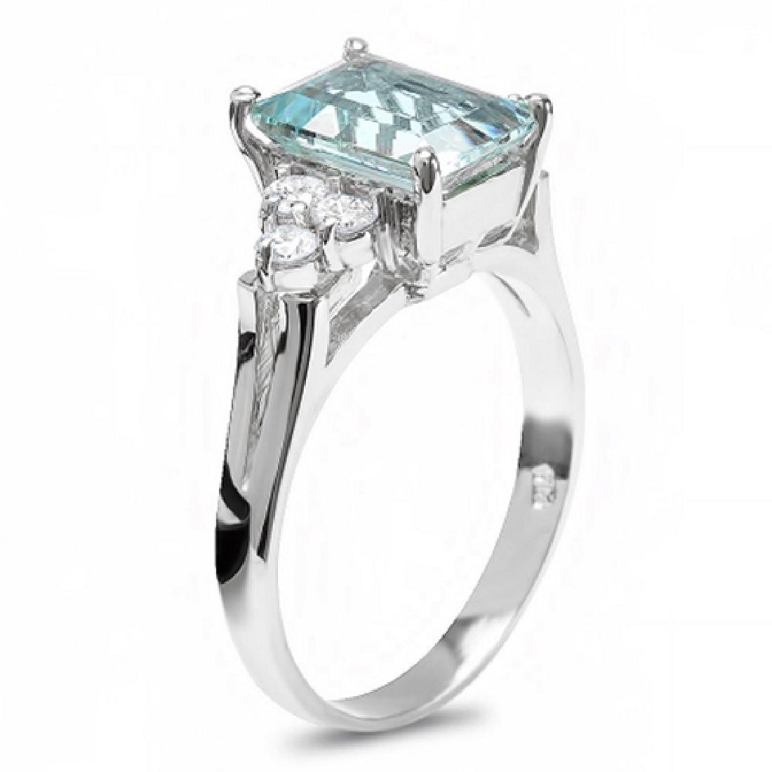 2.30 Carat Natural Aquamarine 18K Solid White Gold - 2