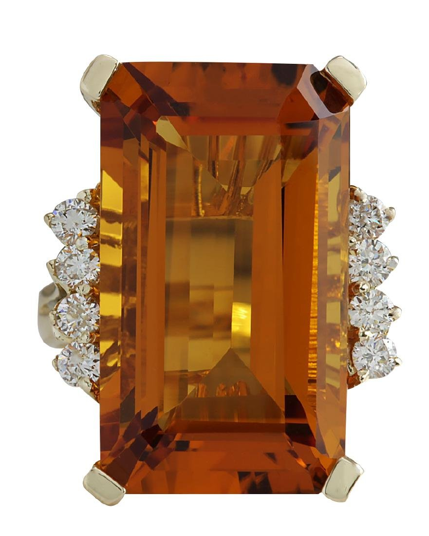 19.30CTW Natural Madeira Citrine And Diamond Ring 18K