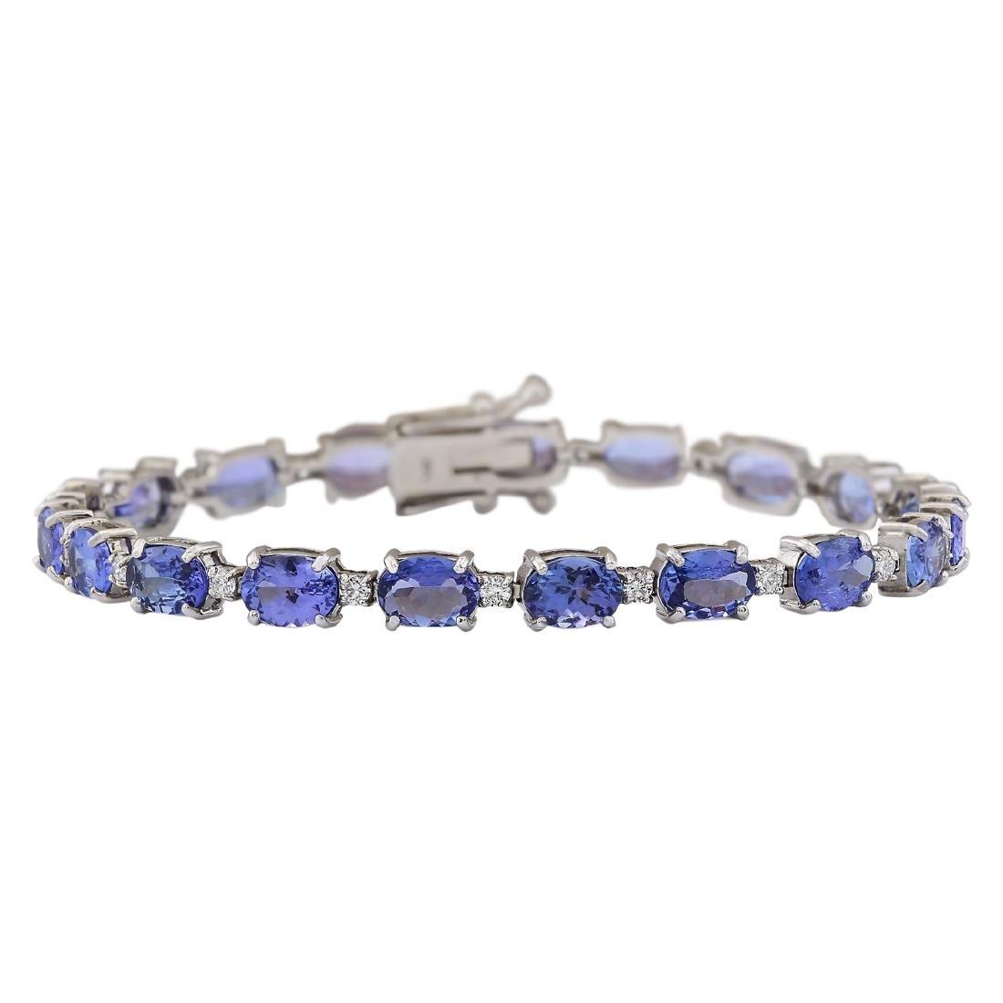 20.30 CTW Natural Tanzanite And Diamond Bracelet In 18K