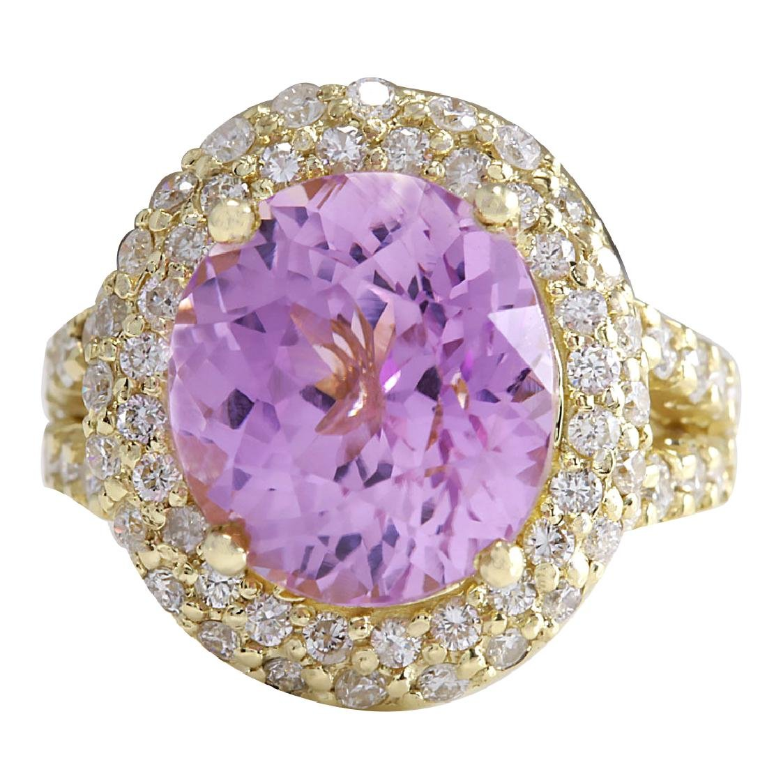 11.51CTW Natural Pink Kunzite And Diamond Ring In 18K