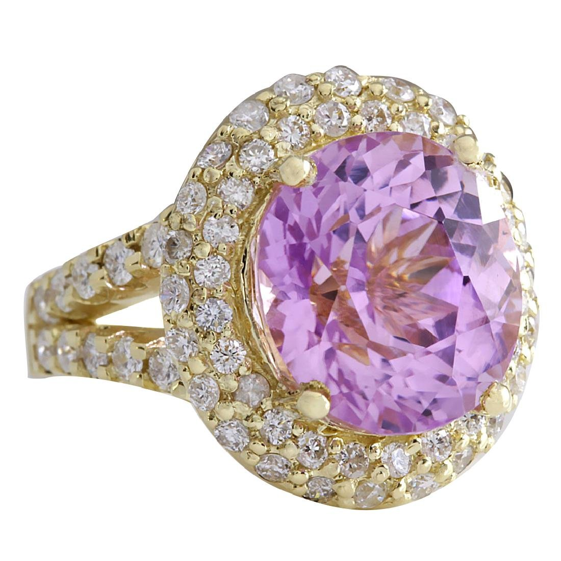 11.51CTW Natural Pink Kunzite And Diamond Ring In 18K - 2